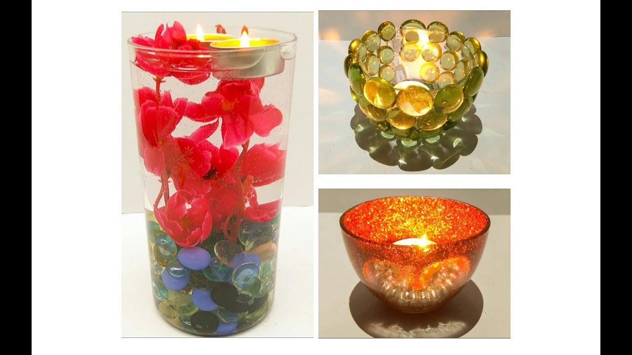 Diy diwali diya decoration ideas vase centrepiece for Diya decoration youtube