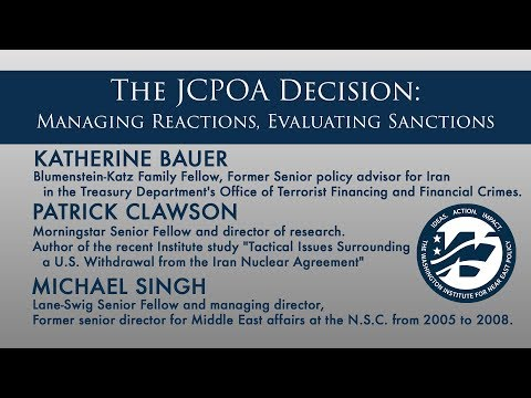 The JCPOA Decision: Managing Reactions, Evaluating Sanctions