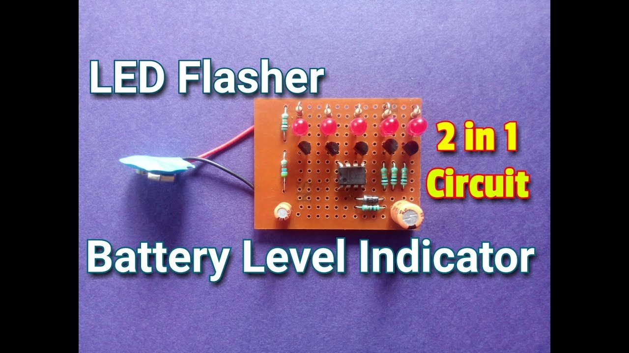 How To Make A Led Flasher And Battery Level Indicator Combo Circuit 2 Transistors Circuitsimple In 1