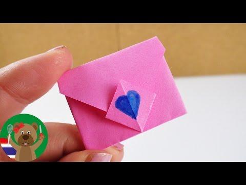 วิธีพับกระดาษซองจดหมายจิ๋ว | ไอเดียออริกามิ | เซอร์ไพร์สวันเกิด