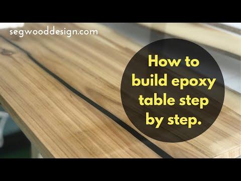 Epoxy coffee table - step by step build. Poplar wood with ocean blue epoxy.