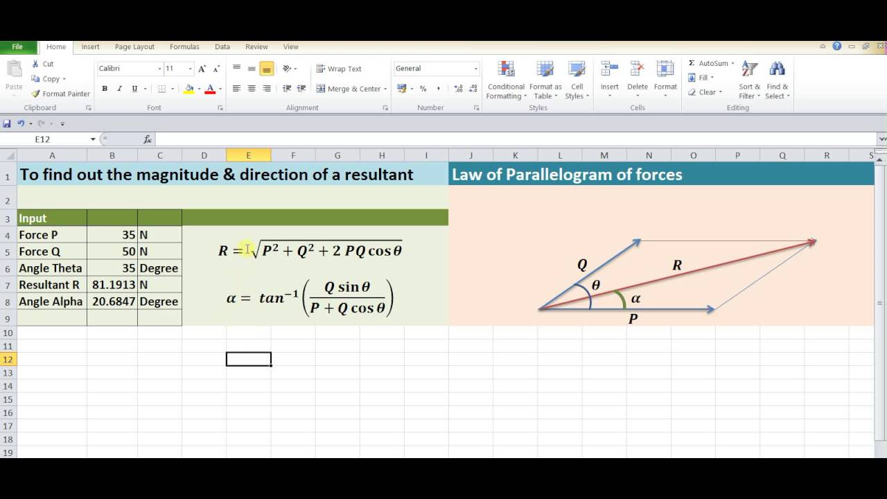 Excel Calculator Law Of Parallelogram Forces Youtube Lamis Theorem And Free Body Diagram Solved Examples Transtutors