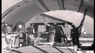 Construction at United States Army Air Force base in Tinian Island, Mariana Islan...HD Stock Footage