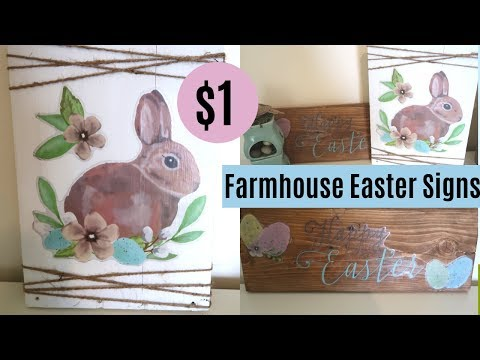 $1 DIY FARMHOUSE EASTER SIGNS | DIY EASTER DECOR | EASTER DECORATIONS