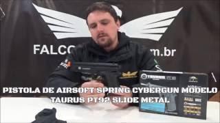 PISTOLA DE AIRSOFT SPRING CYBERGUN TAURUS PT92 SLIDE METAL + COLDRE OSTENSIVO CYTAC