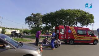Acidente com moto na rotatória do Bongue