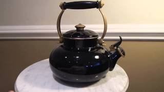 Vintage Black Enamel Tea Kettle