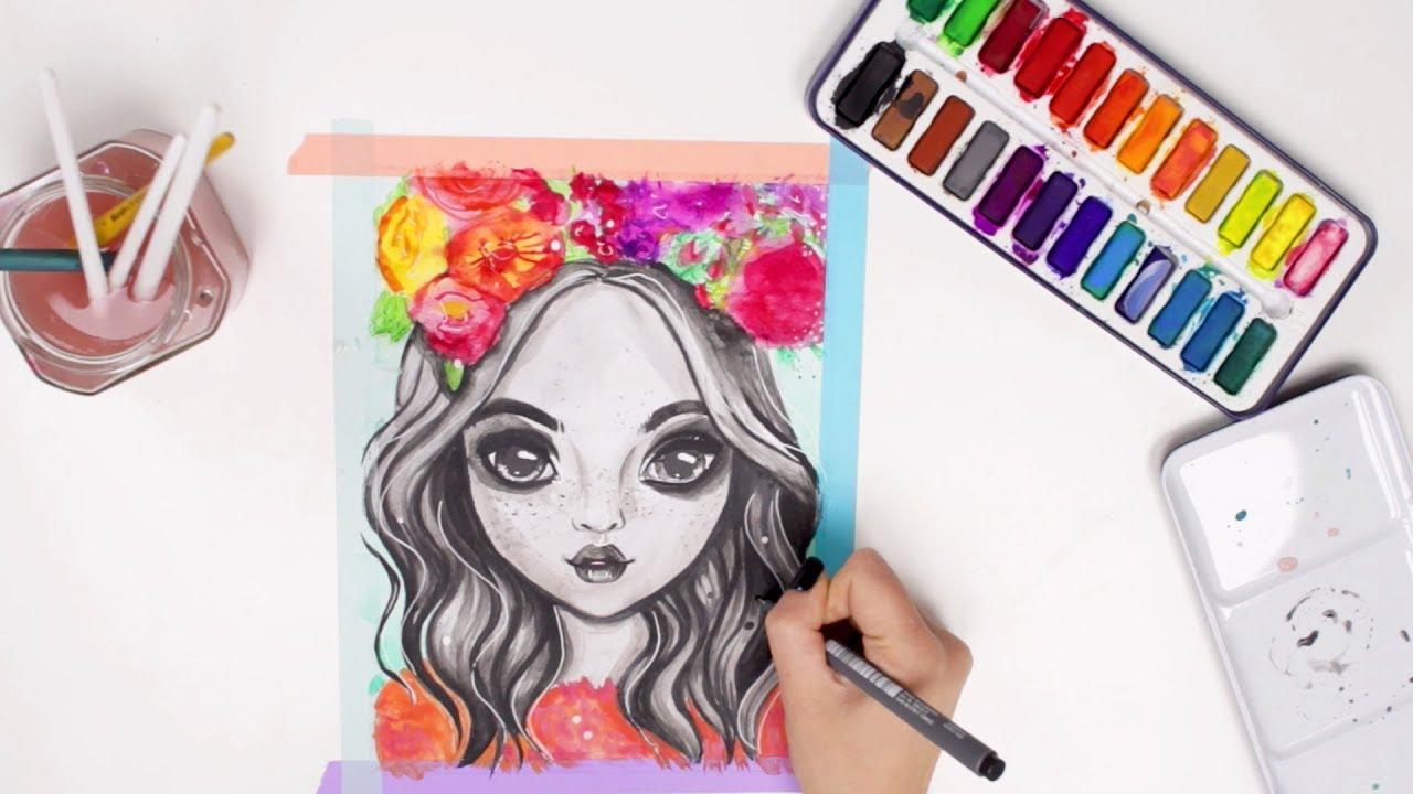 Topmodel Malen Mit Wasserfarben Watercolor Painting Foxy Draws