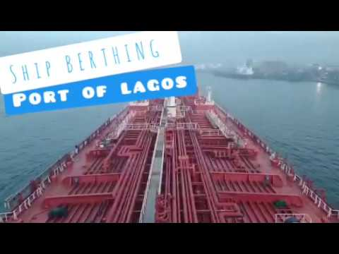 Maneuvering and berthing of ship at port of Lagos/merchant navy. Life at Sea