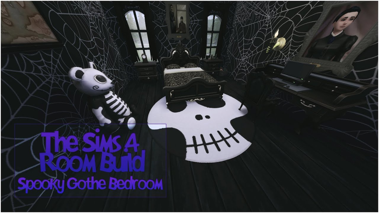 The Sims 4 Room Build Spooky Goth Bedroom Youtube