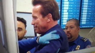 TSA pat down arnold schwarzenegger at LAX