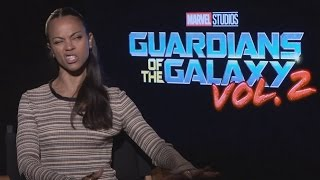 Zoe Saldana does a killer impression of James Gunn!