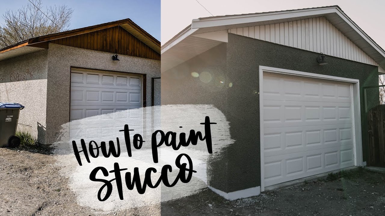 How To Paint Stucco Exterior Detached Garage Makeover Youtube