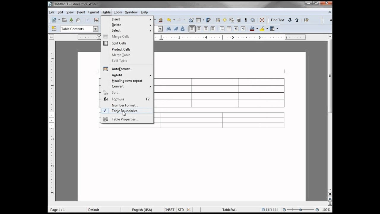LibreOffice-Writer (53) Inserting a Table