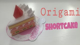 EASY STRAWBERRY CAKE TUTORIAL | CUTE ORIGAMI CAKE