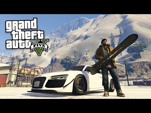 GTA 5 Real Life Mod #36 - SNOW & SNOWBOARD STUNTS!! (GTA 5 Mods)