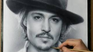 Johnny Depp Speed drawing portrait in dry brush technique