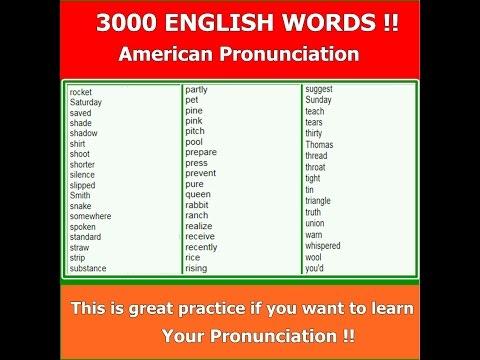 English Language - 3000 Words, American Pronunciation !!