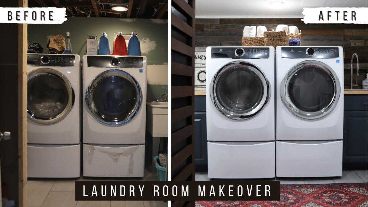 Diy Basement Laundry Room Makeover Youtube