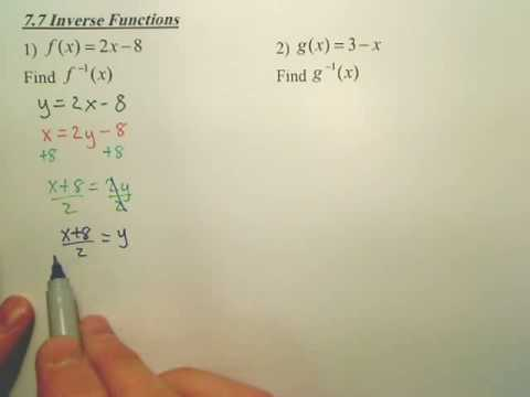 7.7 Inverse Relations and Functions - Algebra 2