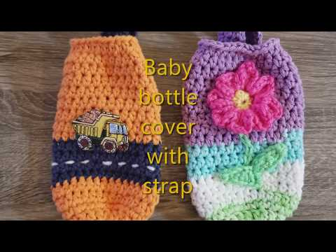 Crochet Baby Bottle Cover with Carrying Strap