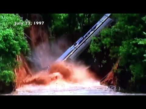 Locomotive train derails into creek caught on video, July 23, 1997, Charlotte, NC