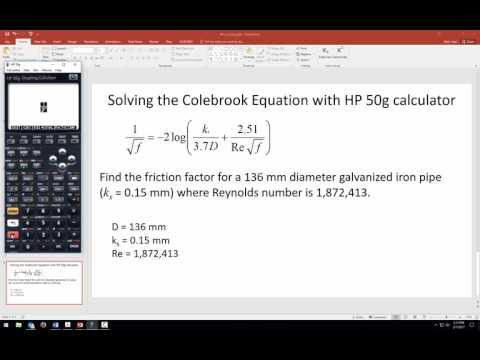 Solving the Colebrook Equation for friction factor f using HP 50g calculator