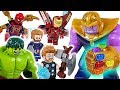 Marvel Lego Infinity War Avengers Hulk  Iron Man  Spider Man  Go  Defeat the Thanos    DuDuPopTOY