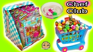 Large shopping cart & box full of season 6  chef club shopkins with surprise blind bags