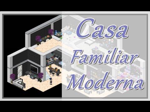 Casa familiar moderna modern home habbo tutorial youtube for Casa moderna habbo