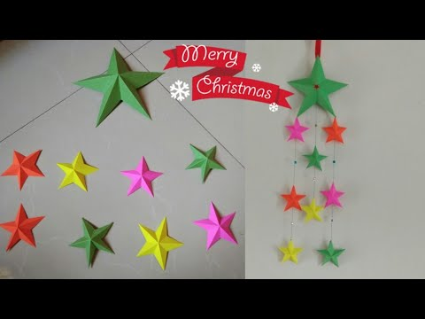 DIY Easy 3D Paper Stars/Making Wall Hanging With Paper Star/Christmas Craft Ideas/Home decor ideas