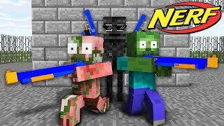 Monster School : NERF GAME CHALLENGE - Minecraft Animation