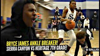 Bryce James BREAKS Defender's Ankles & Bronny Goes Crazy! Sierra Canyon vs Heritage 7th Grade Battle
