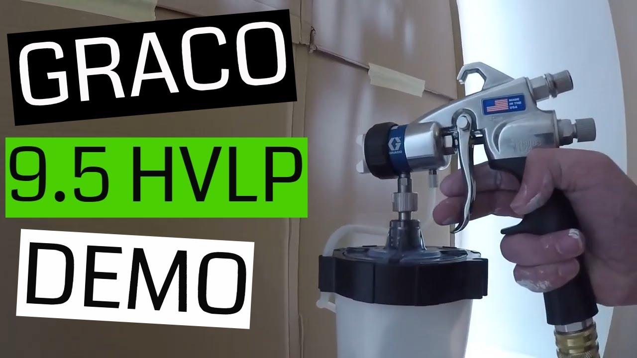 New Graco Finish Pro 9 5 Hvlp Sprayer Demo Spraying Doors Upside Down Edge 2 Plus Gun Youtube