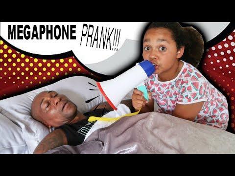 MEGAPHONE PRANK ON MY DAD!!