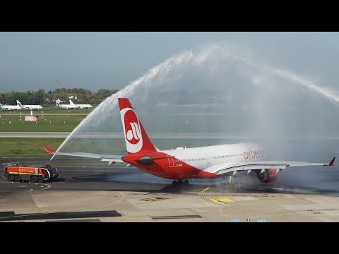 LAST AIR BERLIN Airbus A330 DEPARTURE with a WATER CANON (4K)