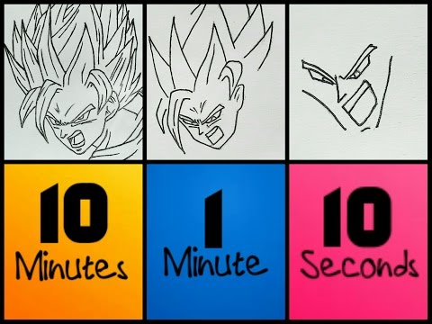 SPEED CHALLENGE! : 10 Minutes | 1 Minute | 10 Seconds - DRAWING GOKU