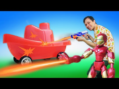 Новые игры с машинами – Железный Человек и Фёдор прокачали кораблик! – Видео для мальчиков.