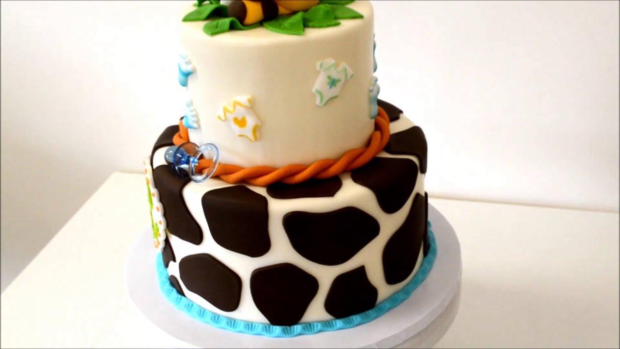 Giraffe Baby Shower Cake Jungle Theme Cake Youtube