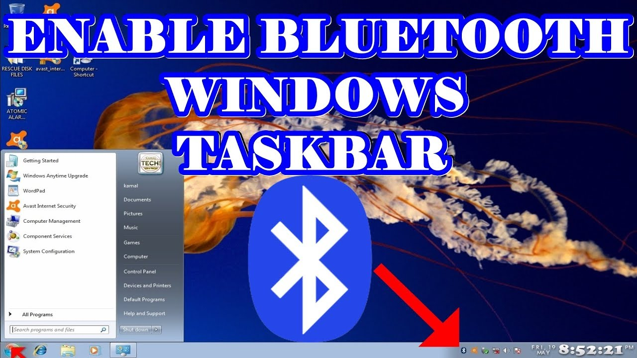 Enable Bluetooth Icon in Windows 7 - YouTube