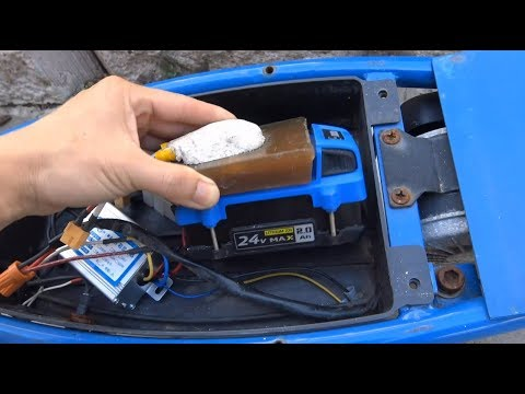 DIY: Razor E300 electric scooter w/ Kobalt 24V Li-ion power tool battery & cheap controller/throttle