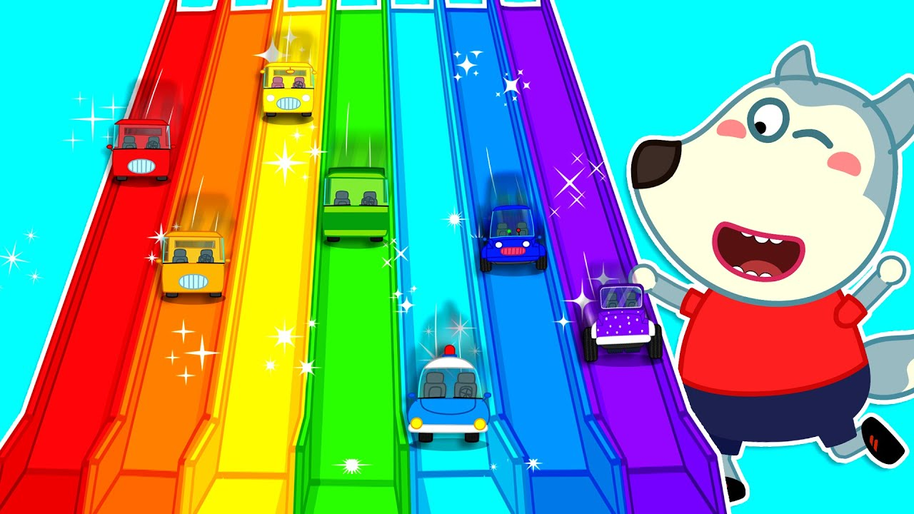 Wolf Family⭐️ Kids Stories About Wolfoo Plays With Rainbow Slide and Colorful Toy Cars  Kids Cartoon