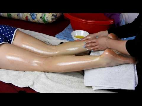 Feet and legs massage, salt, scratching*ASMR