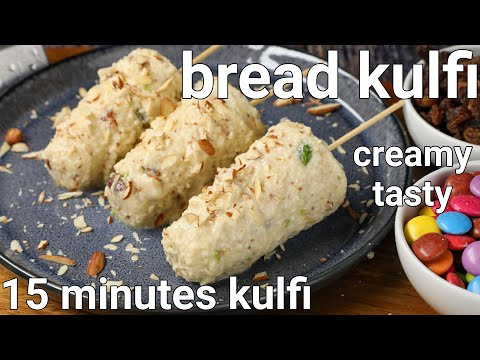 bread kulfi recipe in 15 minutes – no cream, no milkmaid | bread milk ice cream with leftover bread