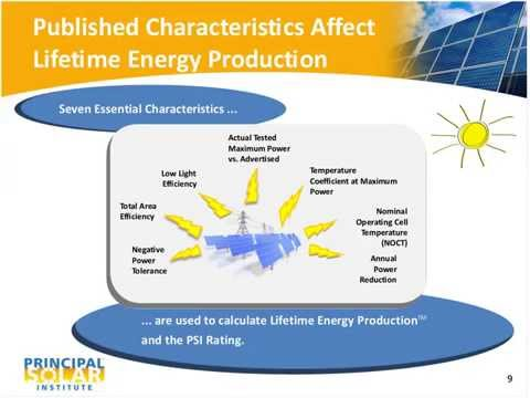 Principal Solar Institute PV Module Ratings to Evaluate Lifetime Energy Production