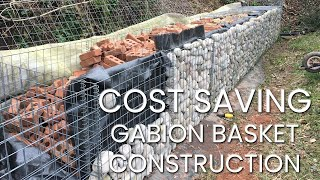 Retaining wall with gabion baskets | Cost saving panel with cobbles and recycled brick - Part 1