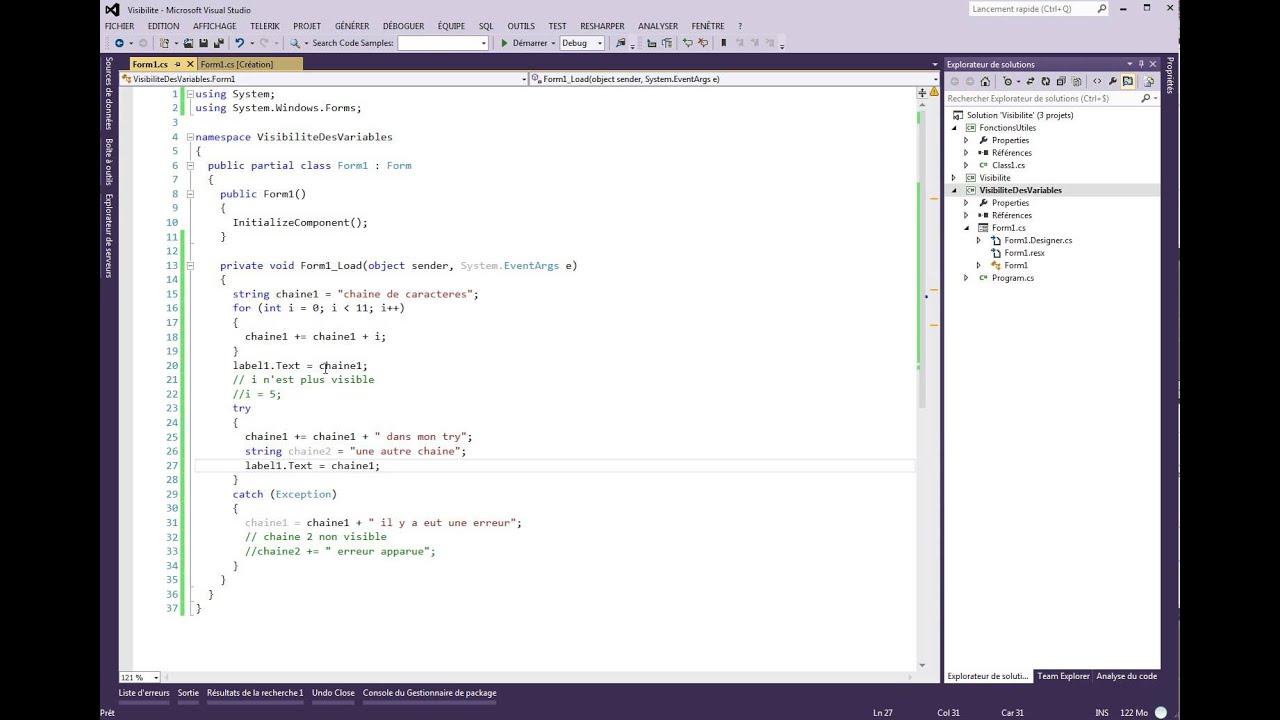 Tutoriel 85 C# Visibilité des variables