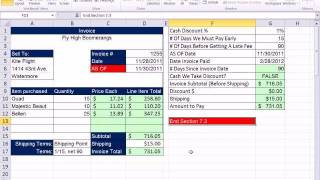 Excel 2010 Business Math 64: Calculate Cash Discounts Using Ordinary Dating Method