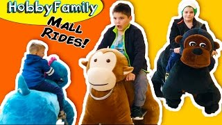 Ride On Animals at Mall! Electric Toy Scooter Mall Rides with HobbyKids HobbyFamilyTV