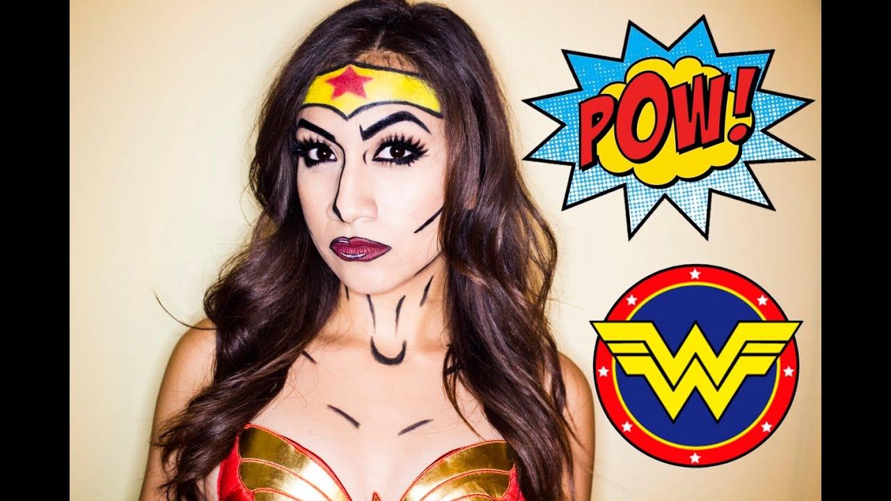 wonder woman pop art makeup tutorial youtube